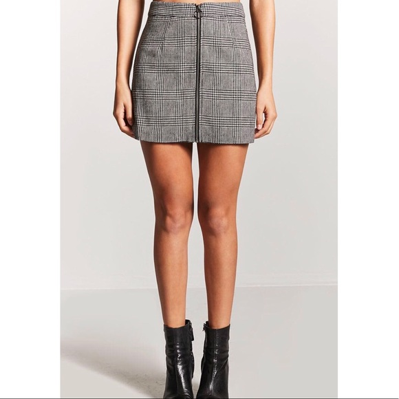817d5c5a8a Forever 21 Skirts | Plaid Houndstooth Zippered Mini Skirt Nwt | Poshmark